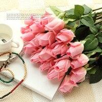 Flores artificiales de PU para decoración del hogar, flores de tacto Real, rosa de PU, para fiesta de boda, regalo de cumpleaños y San Valentín, envío gratis