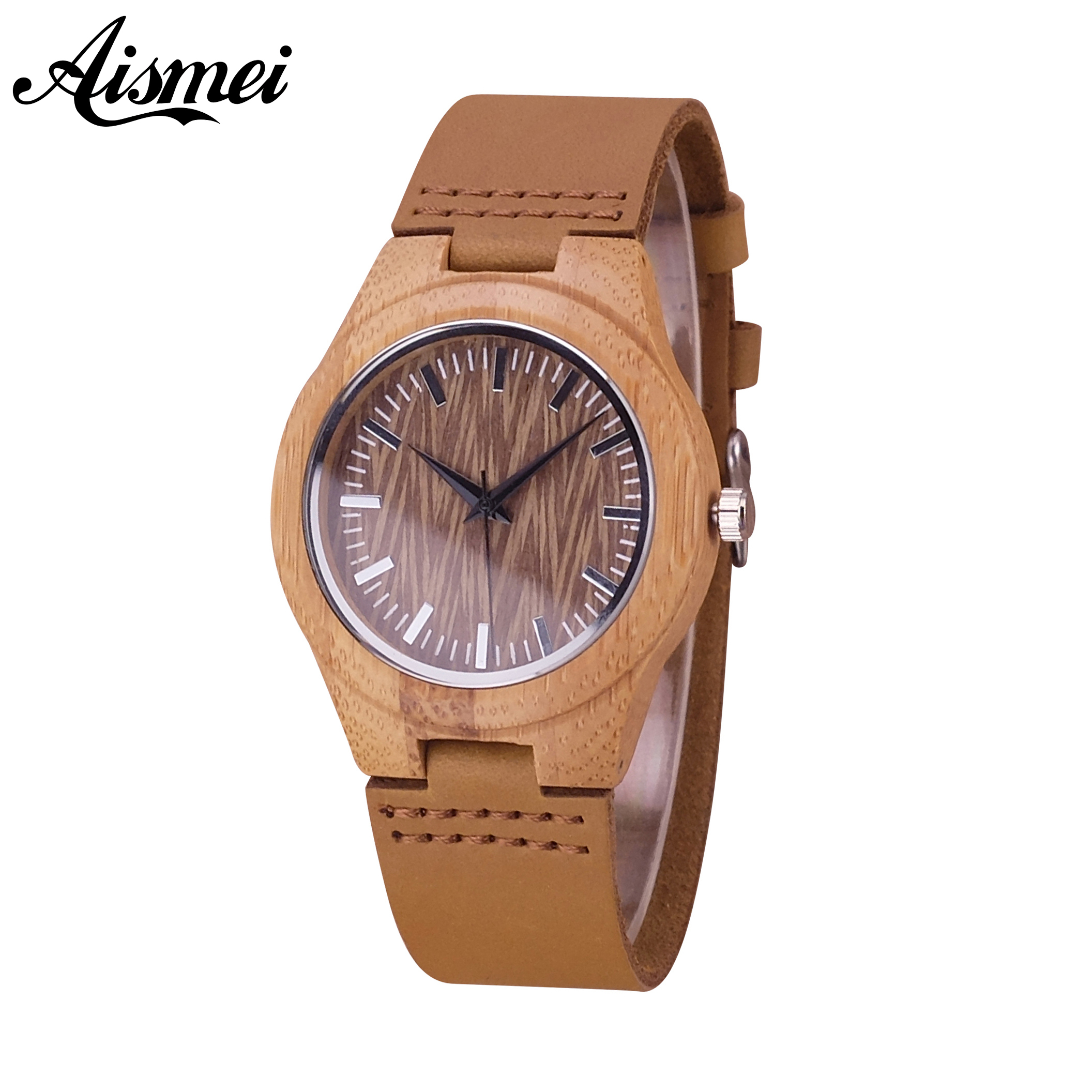 2018 Aismei Women Wood Watches Luxury Brand Genuine Leather Fashion Ladies Quartz Wrist Watch For Female Clock Relogio Feminino relogio feminino sinobi watches women fashion leather strap japan quartz wrist watch for women ladies luxury brand wristwatch