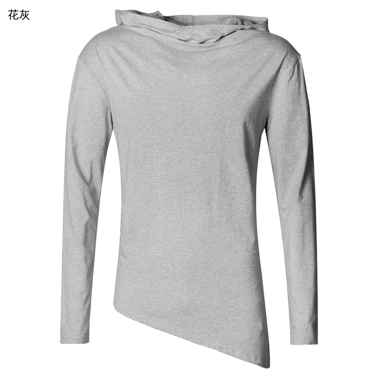 HTB1aNkzpVooBKNjSZFPq6xa2XXa9 - Men Autumn New European Style High Collar Long Sleeve Hooded T-shirt with Cap Men Slim Casual Cotton Irregular T-shirt T908