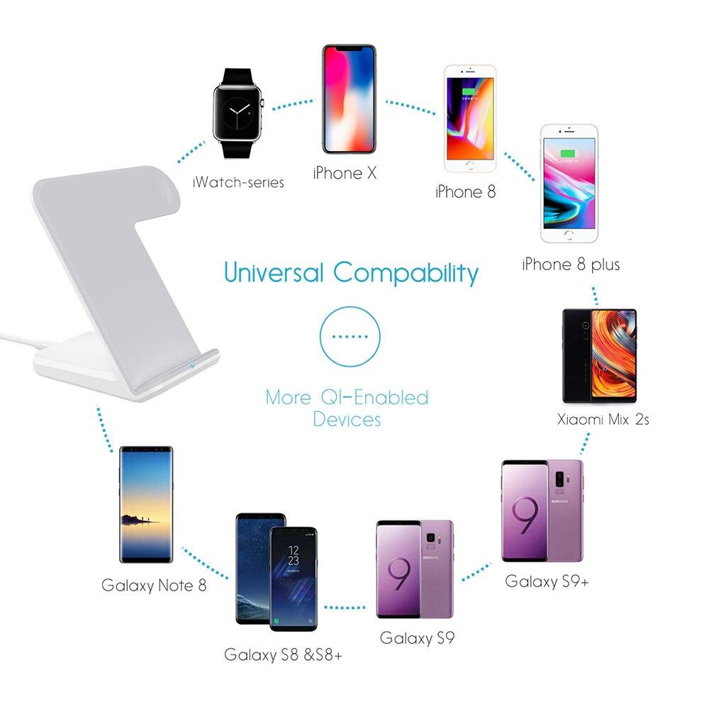 DCAE 2 in 1 Qi Wireless Charger Berdiri Untuk iPhone 11 Pro XS MAX XR - Aksesori dan suku cadang ponsel - Foto 6