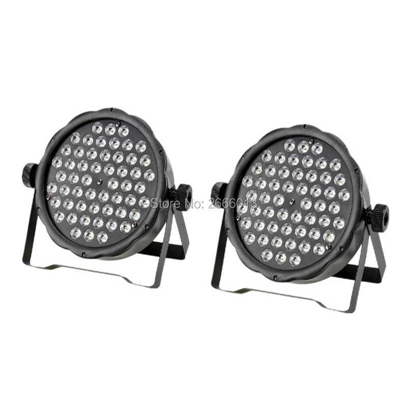 2pcs/lot LED Flat Par 54x3W Lighting LED Par Light Strobe DMX Controller Party DJ Disco Bar Strobe Dimming Effect LED Projector 4xlot free shipping led par can 54x3w rgbw led par light strobe dmx controller for dj disco bar strobe dimming effect projector