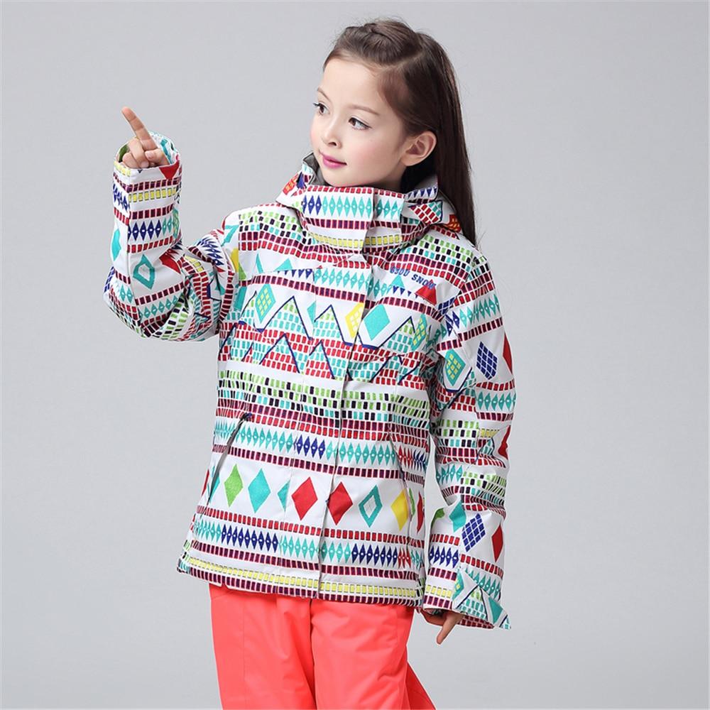 Super Warm Winter Kids Ski Jacket Thicken Girls Snowboard Jackets Children Bright Colorful Printed Snow Coats