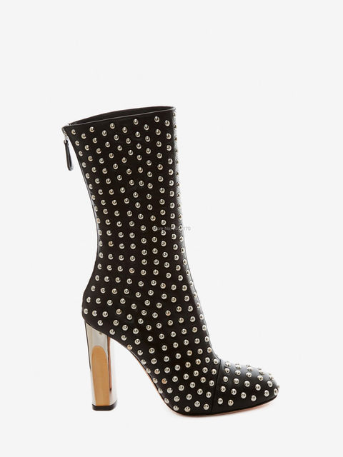 ec261571d57 Botas Mujer Fashion Lady Ankle Boots Round Rivets Studs Metal Block High  Heels Leather Spikes Shoes