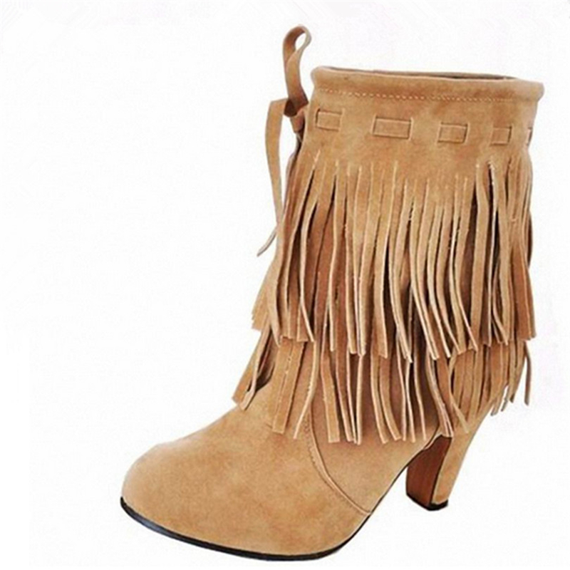 ФОТО Plus size 47 2016 New Fashion Womens Shoes Spring Autumn Tassels Bottine Femme Suede Nubuck Leather High Heels Ankle Boots O544