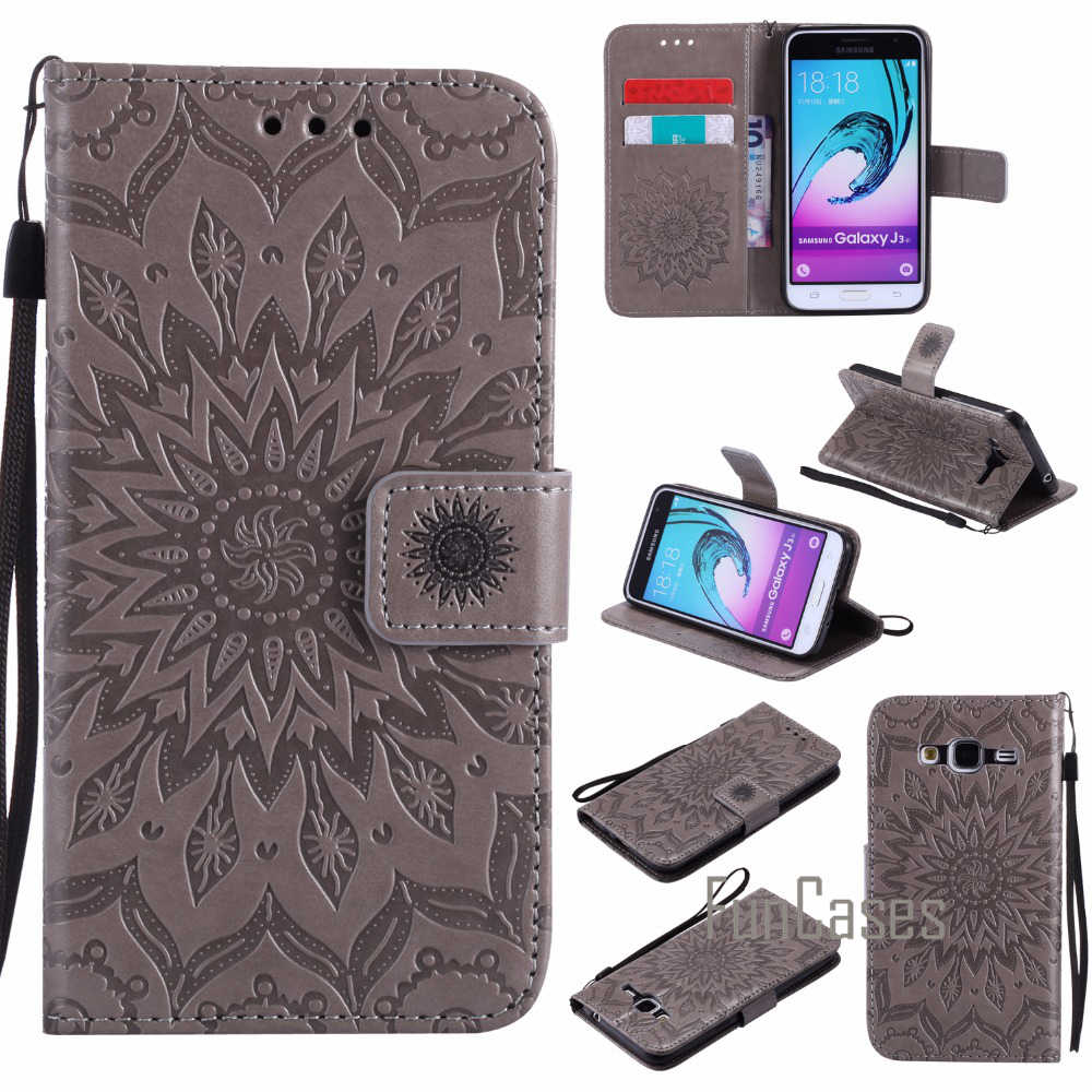 Embossed Pattern Case sFor fundas Samsung Galaxy J3 2016 Case sFor coque Galaxy J3 2015 Case J320 J320F + Card Holders sumsug