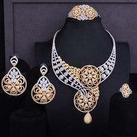 GODKI Super Luxury 2 Tone Gold Mixed Flower Boom Cubic Zirconia Women Wedding Dress Necklace Earring Ring Bangle Jewelry Set