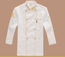Hotel Chef Wear Long Sleeved Autumn Dragon Embroidered Chef Chef Uniform Double Breasted Hotel Kitchen Work Clothes