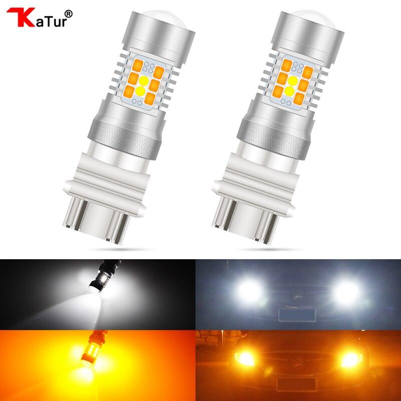 Bombillas LED de alta potencia para luces intermitentes delanteras, color blanco/ámbar, 2 uds., 2835, 28-SMD, 3157, 3357, 3457, 4157, 4357