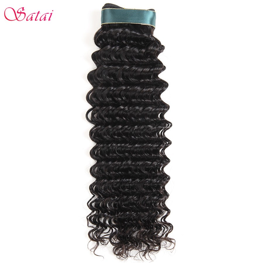 Satai Deep Wave Brazilian Hair Weave Bundles 1 Piece 100% Human Hair Non Remy Hair Extension Natural Color No Tangle Can Be dyed