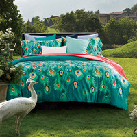 Luxury 60S cotton bed linen green white satin bedding set/bedspread queen king size Peacock duvet cover sheet set 4pcs