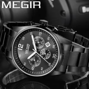 Image 1 - MEGIR Horloge Mannen Waterdichte Chronograaf Militaire Mannelijke Klok Top Brand Luxe Rvs Business Man Sport Polshorloge 2010