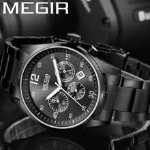 MEGIR Watch Men Waterproof Chronograph Military Male Clock Top Brand Luxury Stainless Steel Business Man Sport Wristwatch 2010