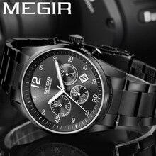 MEGIR İzle Erkekler Su Geçirmez Chronograph Askeri Erkek Saat Üst Marka Lüks Paslanmaz Çelik Iş Adam Spor Kol Saati 2010