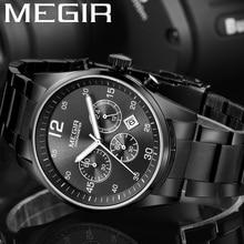 Часы MEGIR мужские водонепроницаемые с хронографом, военные брендовые Роскошные спортивные наручные, деловые, из нержавеющей стали, 2010