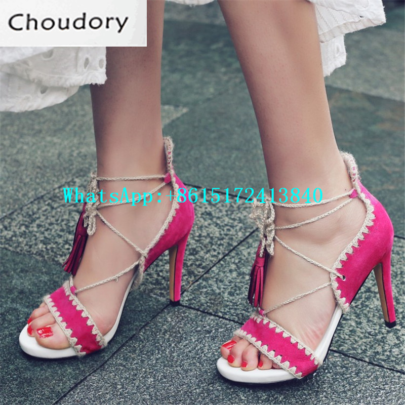 Choudory Open Toe Mixed Colors High Heels Gladiator Sandals Thin Heels Sweet Sexy Dress Shoes Woman Fringe Cross-tied Sandals