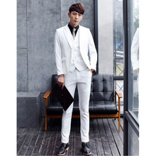 Prince charming fashion of males's go well with vogue a grain of wedding ceremony the groom groomsmen go well with ball robe (jacket + pants + vest)