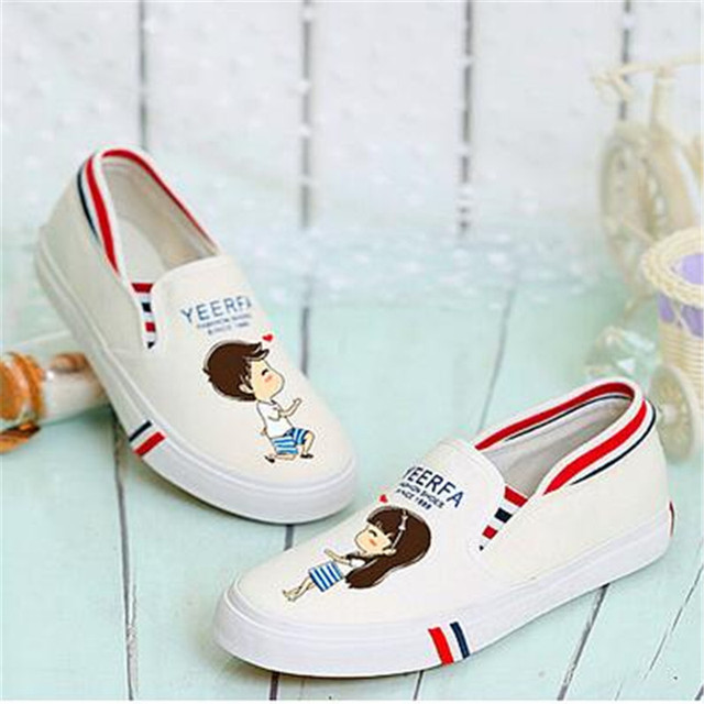 Hot Sale Spring Autumn 2017 Hand Painted Canvas Shoes Women Flat Personality Kitten Cat Female Graffiti Shoes firefox
