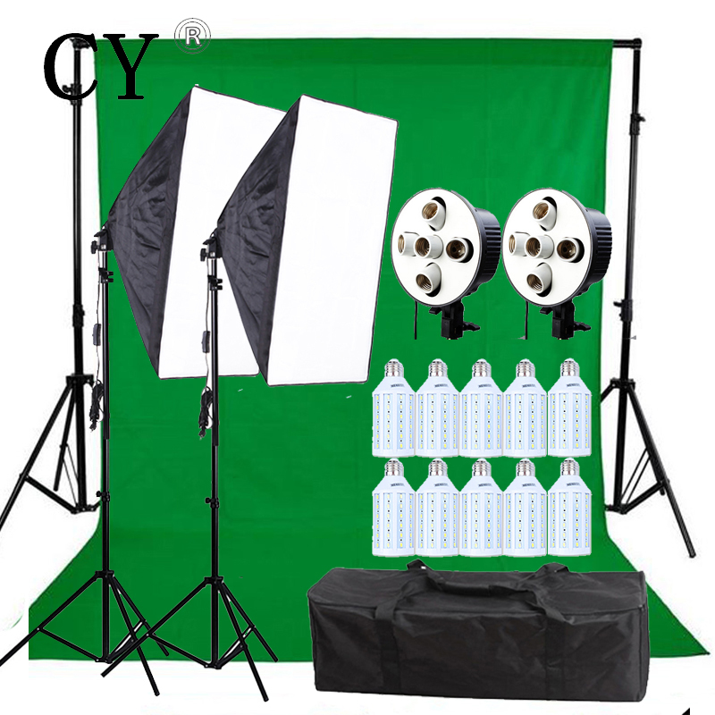 CY New 5 Socket Head 60x90cm Softbox Continuous Lighting Kits With 10pcs 20w LED Corn Light Studio Video Photo Studio Set