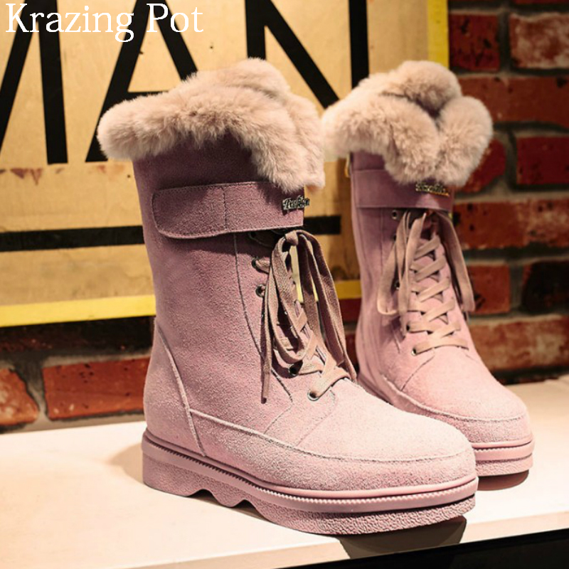где купить 2018 Superstar Cow Suede Real Fur Round Toe Keep Warm Wool Thick Bottom Snow Boots Luxury Zipper Winter Women Mid-calf Boots L31 дешево