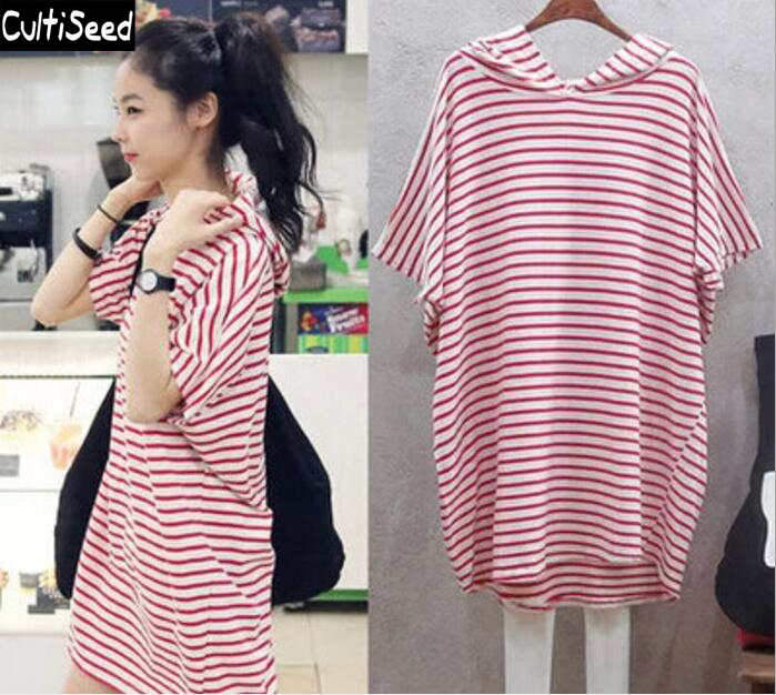 2018 Summer New Womens Casual Loose Dress Fashion Red Striped Dress With Hooded Home Casual Dress Clothing
