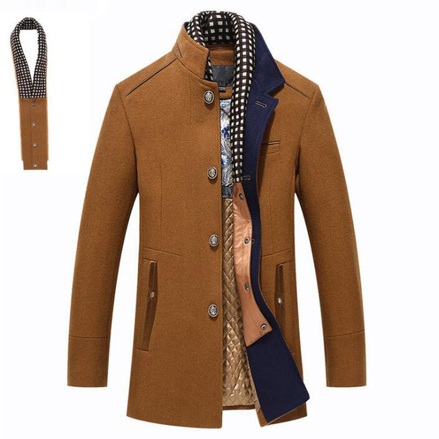 e01923a3fb5 Men s Wool Coat Winter Cashmere jackets Men Casual Long Slim Fit Trench  Jacket Thick Woolen With Detachable Scarf Coats 3xl xxl