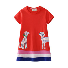 Little Girls Dress with Animal Applique 2019 Kids Summer Dresses for Girls Clothes Cotton Children Tunic Jersey Princess Dress cotton teenage princess girls dresses children summer 2018 sundress off shoulder pink green big little girls dress kids clothes