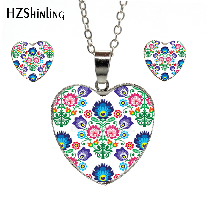 2018 Neue Mode Ethnischen Stil Floral Anhänger Herz Halskette Ohrring Set Glas Dome Silber Halsketten Stud Ohrringe Und Verdauung Hilft