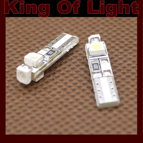 100X LED T5 3 led smd 3528 Wedge LED Lights Bulb Lamp White/Blue/Green/Red/Yellow free shipping