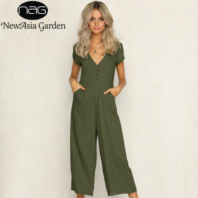 8322be12297 NewAsia Garden Summer Jumpsuit Short Sleeve Jumpsuits For Women 2018  Rompers Womens Sexy Overalls V Neck Wide Leg Playsuit Body