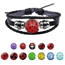 цена Uchiha Clan Rinnegan Sharingan Eye Bracelet Anime Naruto Braided Leather Bracelet  Naruto Sasuke Itachi Kakashi Cosplay Jewelry онлайн в 2017 году