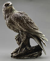 Collectible Decorated Old Handwork Tibet Silver Carve Eagle On Tree Box & Statue copper wholesale Decoration real Brass
