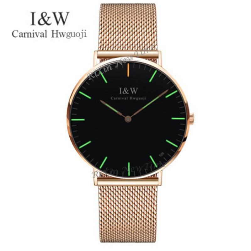 Carnival Luxury Brand Tritium Luminous Quartz Watches Men Fashion casual military women watch leather strap clock
