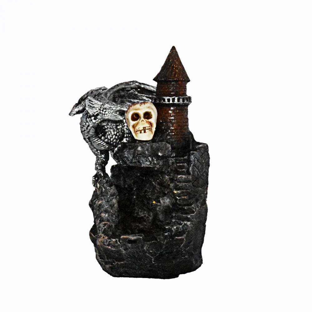 Dragon Skull Skeleton Castle Ceramic Backflow Incense Burner Smoke Waterfall Stick Holder Home Decor Crafts