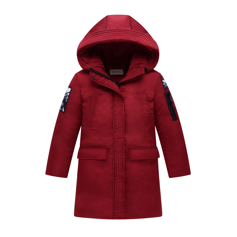 Winter Boy Warm Down Jacke Thick Long Paragraph Hooded Casual Fashion Letters Embroidered Embroidery Children Parker Coat men s winter new hooded thick youth short paragraph fashion cotton thickening solid warm casual jacket 4 color 4xl
