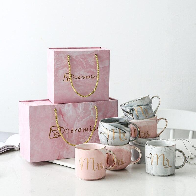 יוקרה ורוד זהב מר וגברת קרמיקה השיש קפה ספל כוס חתונה כלה זוגות מאהב של מתנות ספל פורצלן כוס ארוחת בוקר