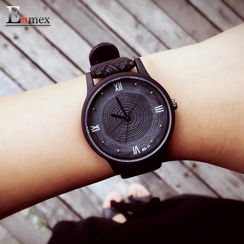 Prix pour 2017 fille cadeau enmex arbre anneau concept 3d annuel anneau visage montre-bracelet creative design simple dame en cuir de mode montres à quartz
