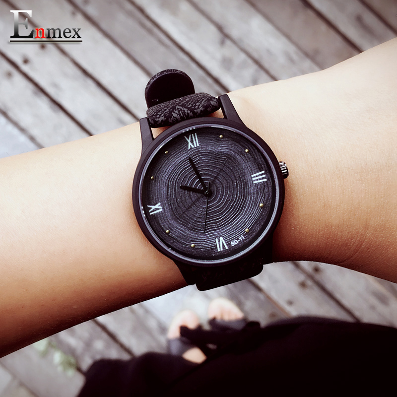 2017 girl gift Enmex tree ring concept 3D Annual ring face wristwatch creative design simple lady leather fashion quartz watches 2017 new gift enmex hit color steel frabic strap creative dial changing patterns simple fashion for young peoples quartz watches