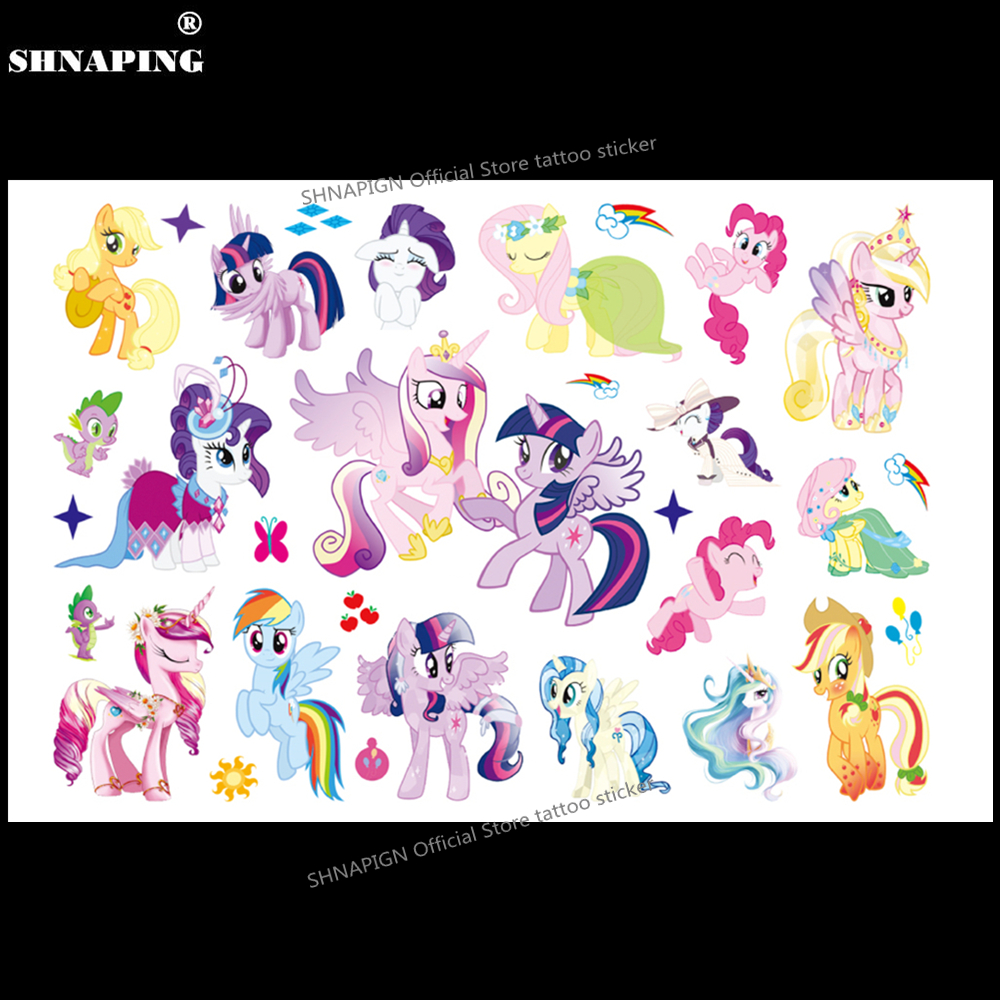 SHNAPIGN Cute Pony Children Cartoon Temporary Tattoos Sticker Fashion Summer Style Elsa Waterproof Girls Kids Boys Hot