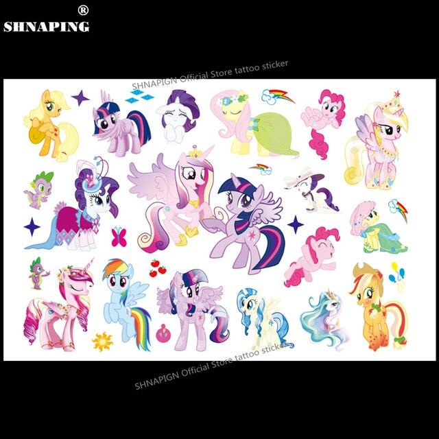 SHNAPIGN lindo Pony niños dibujos animados tatuajes temporales pegatina moda verano estilo Elsa impermeable niñas niños caliente