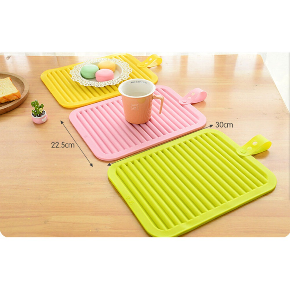 4pcs Silicone Mat Placemat Nonslip Heat Resistant Dining Table Mat Cup  Coaster Hung Pad