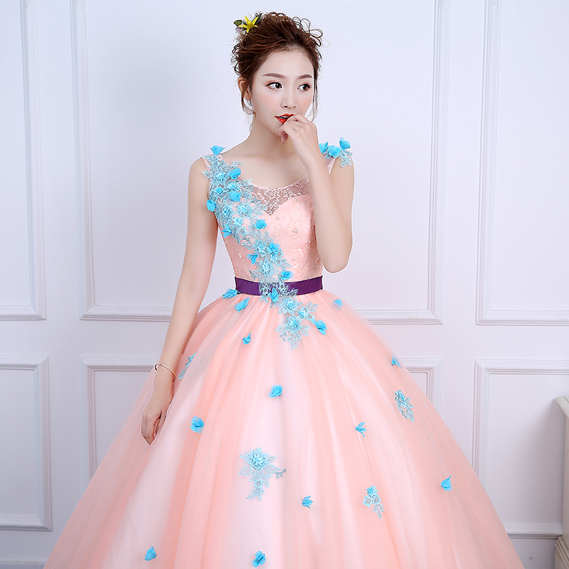 ruthshen Pink Ball Gown Quinceanera Dresses With Appliques Flowers ...