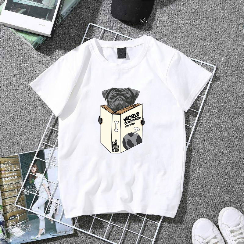 Classic T Shirt Women World Domination For Pugs T-Shirt Lady 100% Cotton Summer Casual Tops Girl Hipster White T-shirts