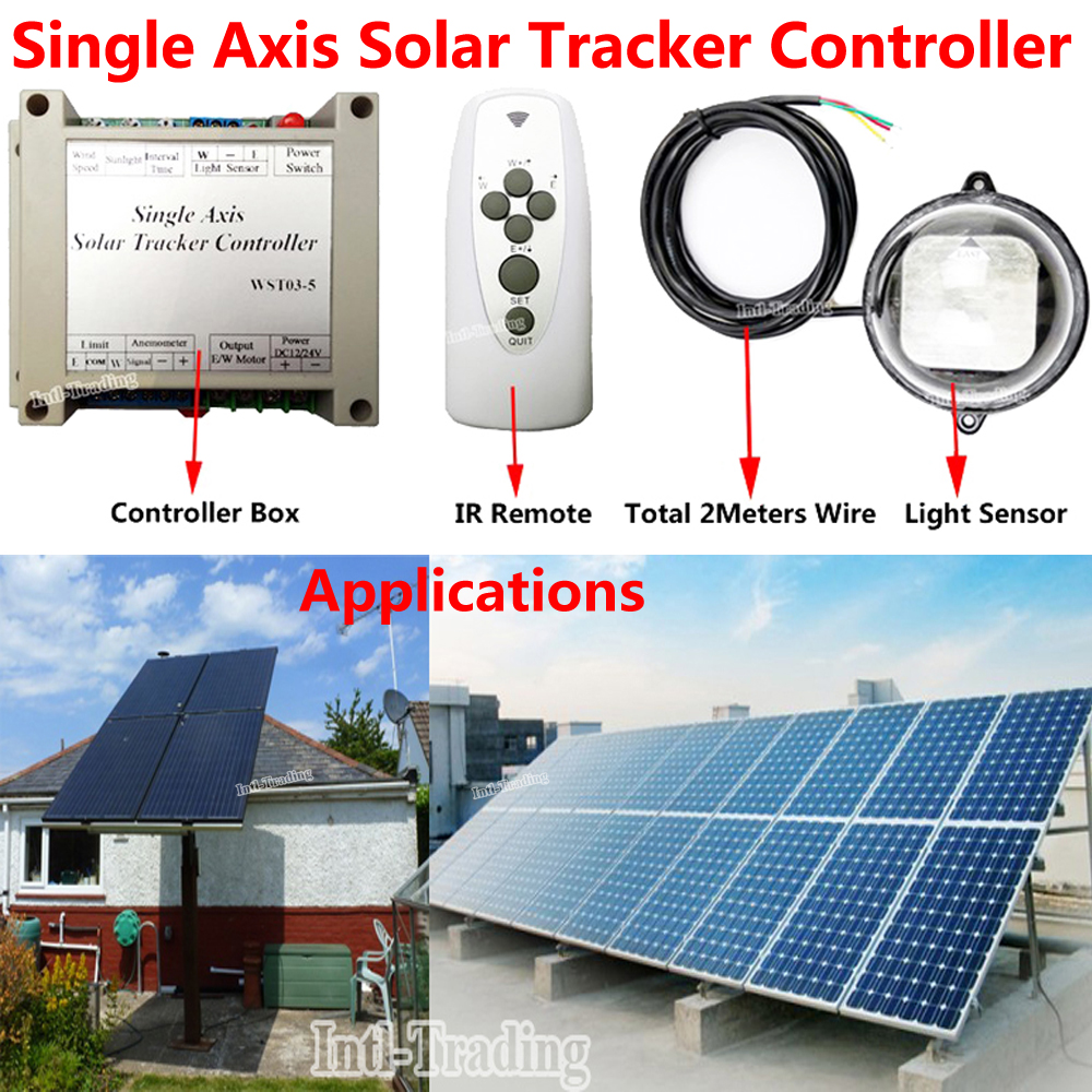 Complete Solar Tracking Single Axis Sunlight Tracker Controller W Waterproof Light Sensor W IR Remote for