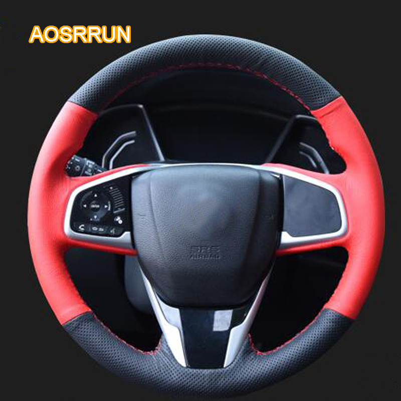 AOSRRUN genuine leather car steering wheel cover Car accessories For HONDA Civic 10 th 2017 2017