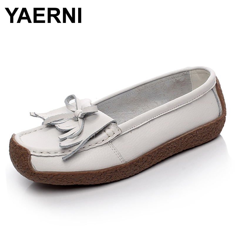 YAERNI Spring Women's tassel snail Shoes Genuine   Leather   Women Shoes Woman Hand-sewn   Suede     Leather   Shoes Fashion Casual Shoes