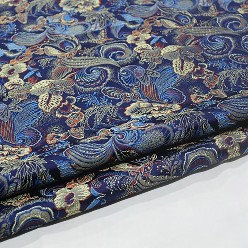 HLQON 75cm width brocade yarn dyed blue fabric for patchwork felt tissue telas bed sheet children cloth coat cheongsam dress