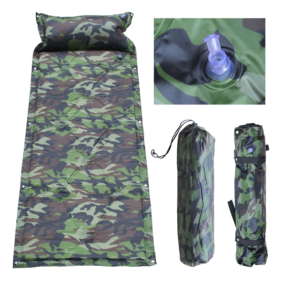 oreiller camping JHO Autogonflant Camping Rouleau Tapis/Pad Lit Gonflable Oreiller  oreiller camping