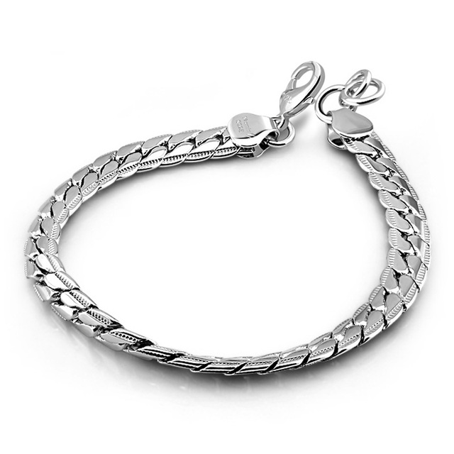 Retro Fashion 7mm 19cm Feijaro Chain Bracelet Men 925 Sterling Silver Jewelry S