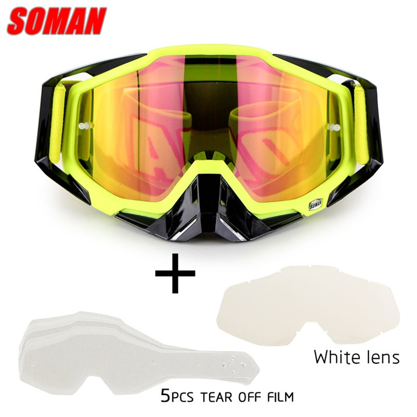 SOMAN motorcycle <font><b>glasses</b></font> with <font><b>5</b></font> tear off film&white <font><b>lens</b></font> motorcyclist <font><b>glasses</b></font> motocross goggles dirt <font><b>bike</b></font> <font><b>glasses</b></font> gafas SM11 image
