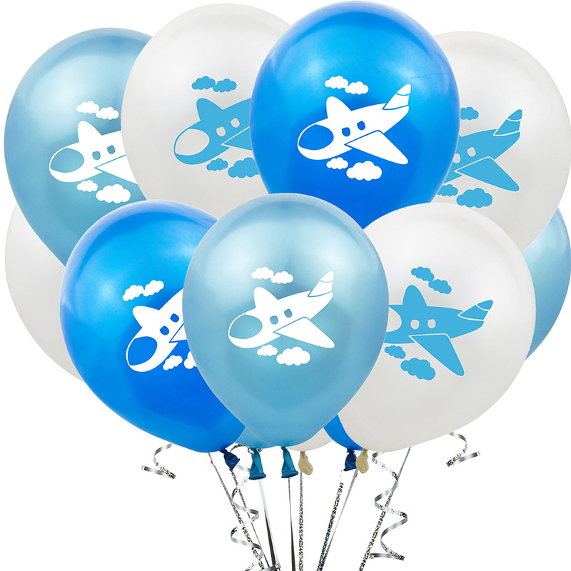 10Pcs 12Inch Cartoon Airplane Balloon Latex Babyshower Wedding Party Birthday Decorations Balloons kids Toy Theme Decor Supplies image